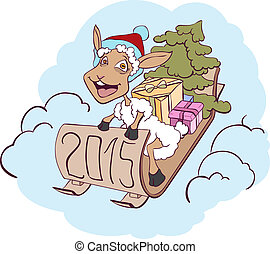 Sheep on a sledge with gifts. Symbol 2015. Vector cartoon...