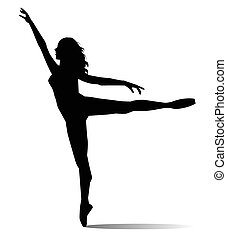 dancer on white background - dancer silhouette on white...