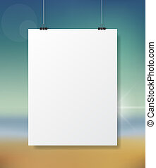 Poster Mock Up - Blank Poster Mock Up Hanging In Front of...