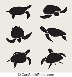 Vector group of turtle on white background