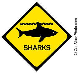 Shark warning sign - A black and yellow shark warning sign...