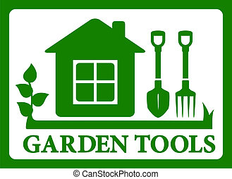 garden symbol icon - green garden tools symbol. isolated...