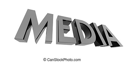 chrome media - 3D render of reflective metallic text on a...