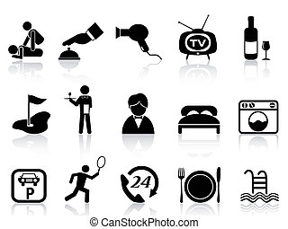 hotel service icons set - isolated black hotel service icons...