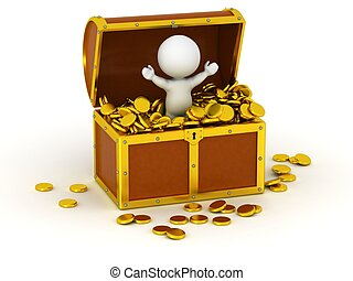 3D Character inside Treasure Chest - A 3D character with...