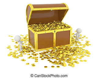 Huge 3D Treasure Chest with gold - Huge 3D treasure chest...