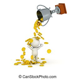 3D Character, Trophy, Gold coins - A 3D trophy pouring...