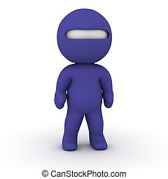 3D Character dressed as Ninja - A 3D character dressed as a...