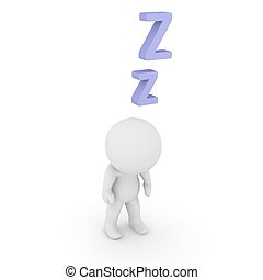 3D Character Standing and Sleeping - A sleepy 3D character...