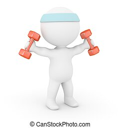 3D Character Working Out - A 3D character lifting weights...