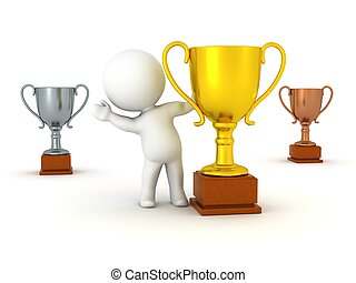 3D Character and Trophies - 3D Character waving from behind...