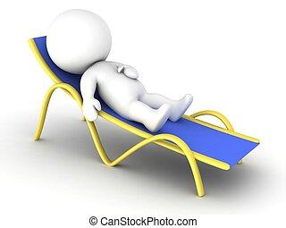 3D character relaxing - A 3D character relaxing in a beach...