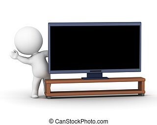 3D Character waving from behind TV
