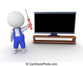 3D Character repairman and HDTV - 3D character with a screw...