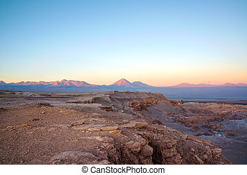Sunset in San Pedro de Atacama with a view of Licancabur...