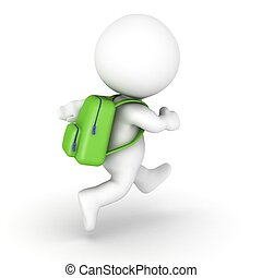 3D Character with Backpack - 3D character running with a...