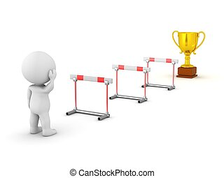 3D Character Obstacles and Trophy - 3D character looking at...