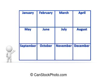 3D Character showing Year Calendar - 3D character showing a...