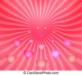 Flying hearts - Glowing hearts flying love, goodness and...