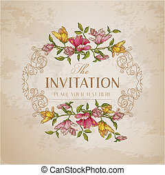 Vintage Floral Card - with place for your text - in vector