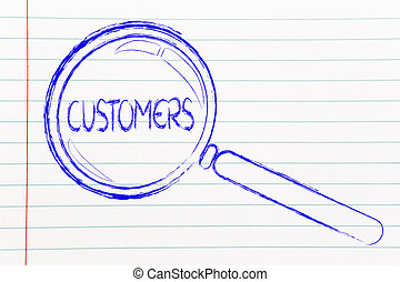 finding customers, magnifying glass focusing on clients -...