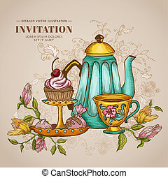 Vintage Menu or Invitation Card - with Teapot and Desserts -...