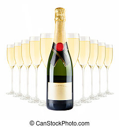 Champagne bottle and many champagne glasses