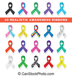 awareness ribbon icons with different ribbons in the form of...