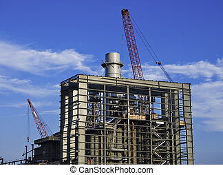 Industrial Construction - Exterior steel frame and smoke...