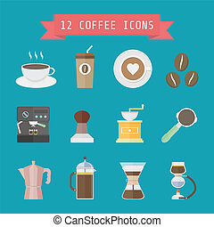 coffee icon - set of coffee and barista's equipment, flat...