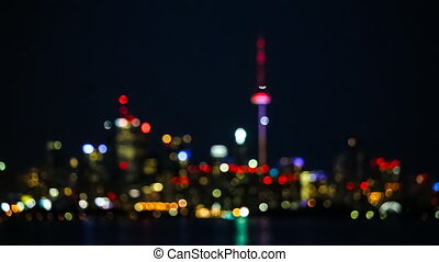 Flickering Bokeh Lights of Toronto Skyline, Canada
