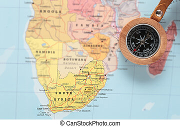 Travel destination South Africa, map with compass - Compass...