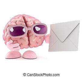 3d Brain character gets mail - 3d render of a brain...