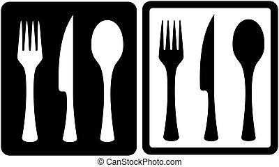 kitchen utensil icons - set black and white kitchen utensil...