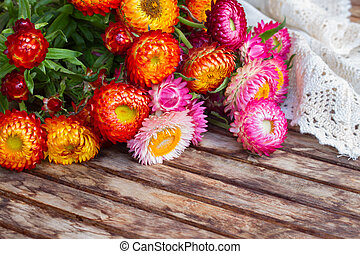 Bouquet of Everlasting flowers on table - Bunch of fresh...
