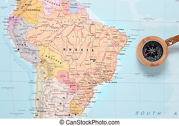 Travel destination Brazil, map with compass - Compass on a...