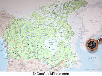 Travel destination Canada, map with compass - Compass on a...