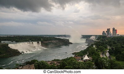 Dark clouds move over Niagara Falls as seen from the...