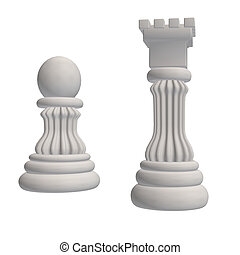 Chess Pieces - Two white chess pieces