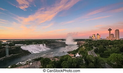 Niagara Falls at Sunrise - Panorama of Niagara Falls as seen...