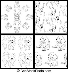 Seamless pattern of dog-black and white - Set of 4 seamless...