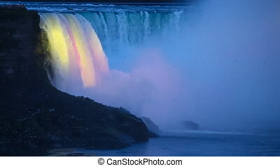 Niagara Falls in the Evening - Niagara Falls - Birds Fly in...