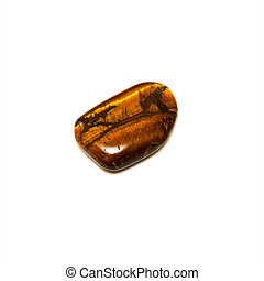 tigers eye stone over white - An iridescent tiger's eye...