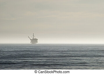 oil industry - an offshore oil drilling platform, off the...