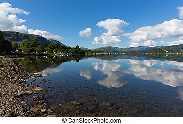Lake District Cumbria England UK Ullswater with mountains...
