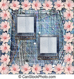 Old vintage postcard with beautiful pink flowers on blue...