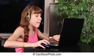 girl with laptop - young girl with laptop