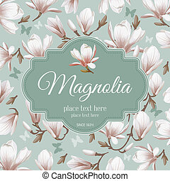 Retro flower card- magnolia - Luxurious retro style floral...