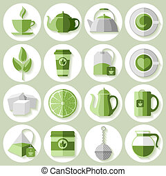 Tea icons set - Set of tea icons in flat style
