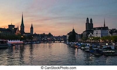 Evening in Zurich, Switzerland - Zurich Skyline and the...